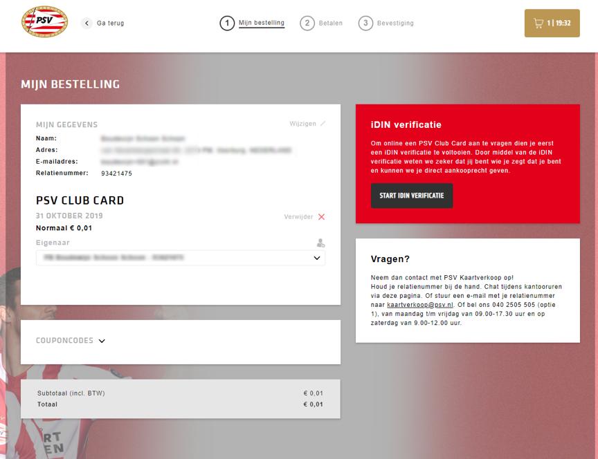 iDIN voor Clubkaart en risicowedstrijden bij PSV